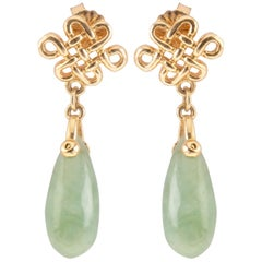 Jade Drop 18 Karat Yellow Gold Earrings