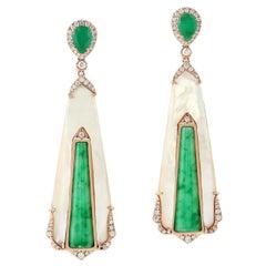 Jade Emerald 18 Karat Gold Diamond Earrings