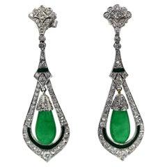 Jade Enamel Diamond Long Earrings