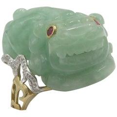 Jade Foo Dog Ring Oriental Style Jade Diamonds and Ruby Eyes Foo Dog Ring