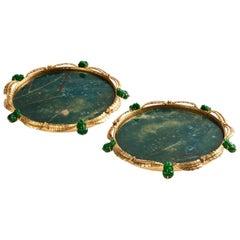 Jade Frogs Set of 2 Coasters