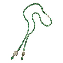 Jade glass bead and clear paste lariatt-style necklace/sautoir, French, 1920s
