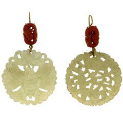 Jade Gold Coral Drop Earrings
