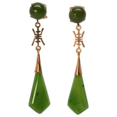 Jade Gold Drop Dangle Earrings