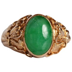 Jade and Gold Ring Certified Natural and Untreated
