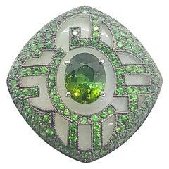 Jade, Green Tourmaline with Tsavorite Ring Set in 18 Karat White Gold Settings