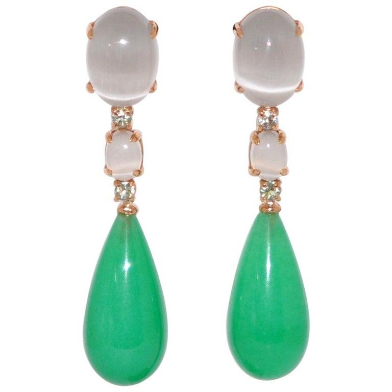 Jade, Grey Quartz and Green Sapphires on Rose Gold 18 Karat Chandelier  Earrings