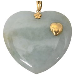 Jade Heart Pendant with 14 Karat Gold Accents