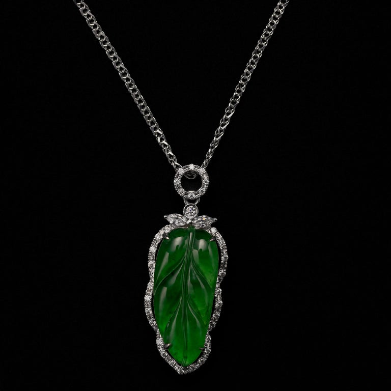 Contemporary Jade Leaf Pendant Imperial Green Certified Untreated For Sale