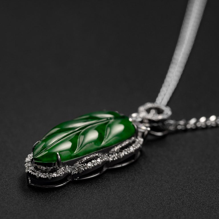 Brilliant Cut Jade Leaf Pendant Imperial Green Certified Untreated For Sale