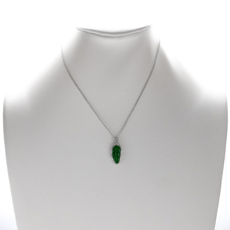 Jade Leaf Pendant Imperial Green Certified Untreated For Sale 1