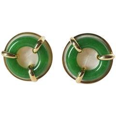 Jade Mother of Pearl 18 Karat Gold Clip-On Earrings