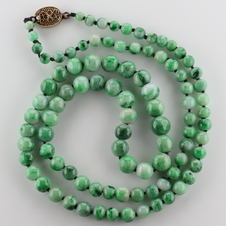 Art Deco Jade Necklace circa 1930s Variegated Green Certified Untreated For Sale