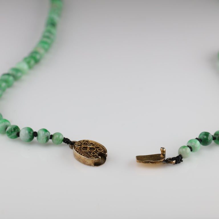 Women's or Men's Jade Necklace circa 1930s Variegated Green Certified Untreated For Sale