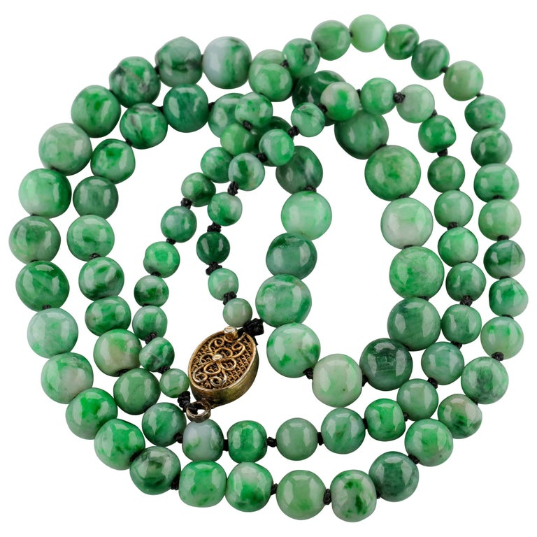Jade Necklace circa 1930s Variegated Green Certified Untreated For Sale