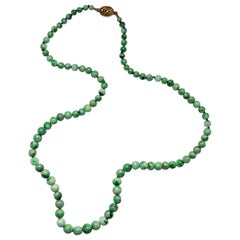 Jade Necklace circa 1930s Variegated Green Certified Untreated