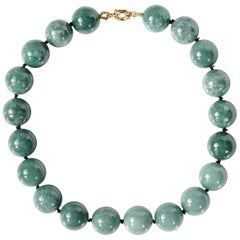Jade Necklace Featuring Huge Bluish-Green Beads Certified Untreated