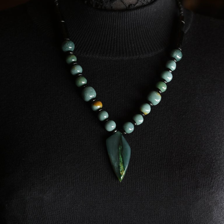 Jade Necklace Hand Carved Exotic Blue Olmec Jadeite Certified Untreated For Sale 8