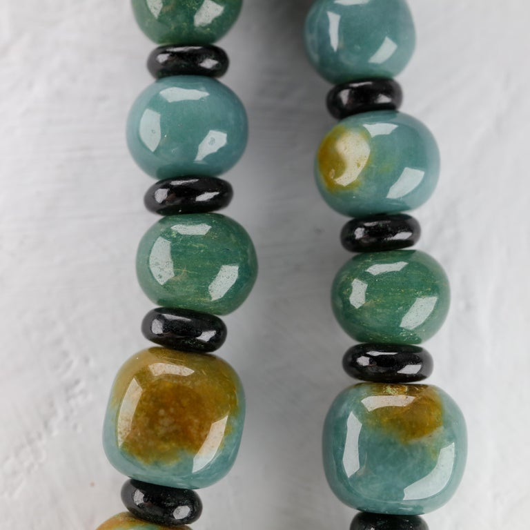 Jade Necklace Hand Carved Exotic Blue Olmec Jadeite Certified Untreated For Sale 4