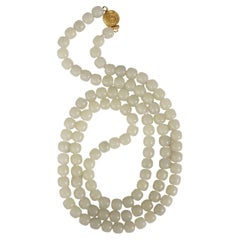 """Jade Necklace Hand-Carved White """"Mutton Fat"""" Nephrite Certified Untreated"""