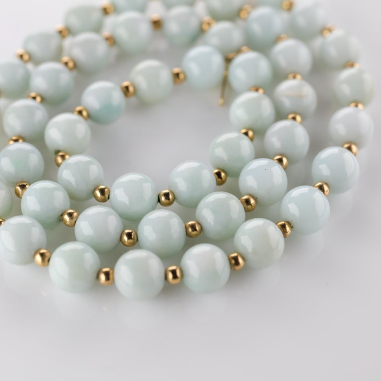 Modern Jade Necklace Light Green with Gold Beads, circa 1970 For Sale