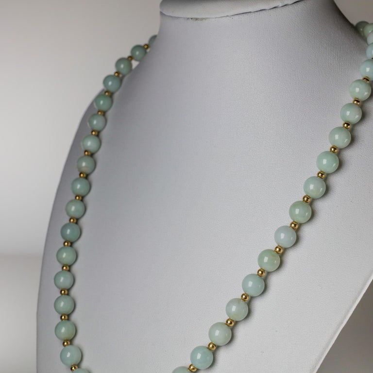 Jade Necklace Light Green with Gold Beads, circa 1970 For Sale 2