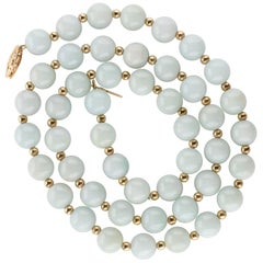 Jade Necklace Light Green with Gold Beads, circa 1970