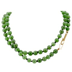Jade Necklace of Siberian Nephrite with Simple Gold Hook Closure