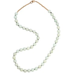 Jade Necklace of Soft Bluish-Green Jadeite is Unexpectedly Sublime