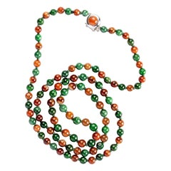 Jade Necklace Red & Green Certified Untreated