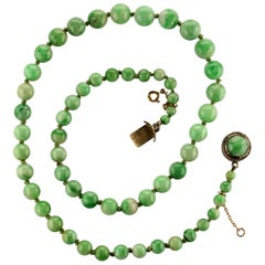 Jade Necklace Spring Green GIA Certified Natural and Untreated Art Deco