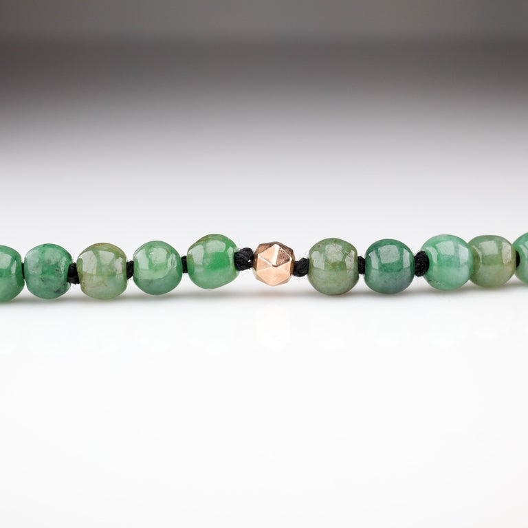 Jade Necklace Untreated Handmade Ruggedly Unique In New Condition For Sale In Southbury, CT