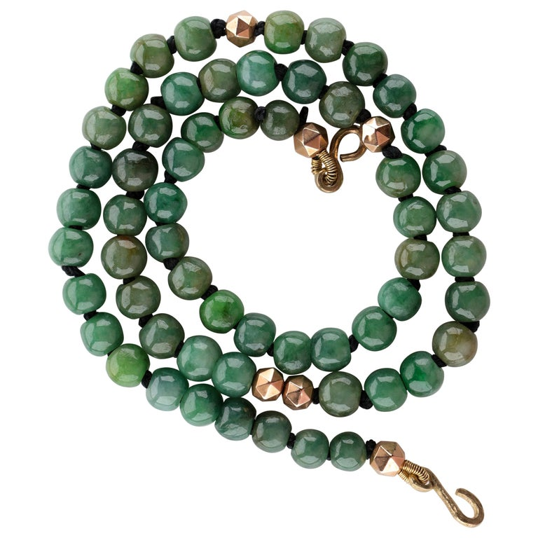 Jade Necklace Untreated Handmade Ruggedly Unique For Sale