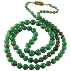 Jade Necklace with Diamond Clasp
