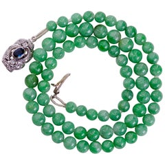 Jade Necklace with Sapphire, Diamond and 18 Karat Gold Clasp Certified Untreated
