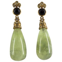 Jade Onyx 0.35 Carat Diamond Yellow Gold Stud Earrings