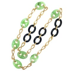 Jade Onyx 18 Karat Yellow Gold Link Necklace