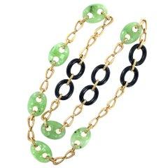 1960's Jade Onyx 18 Karat Yellow Gold Link Vintage Necklace
