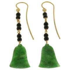 Jade Onyx 9 Karat Rose Gold Dangle Earrings Handcrafted in Italy