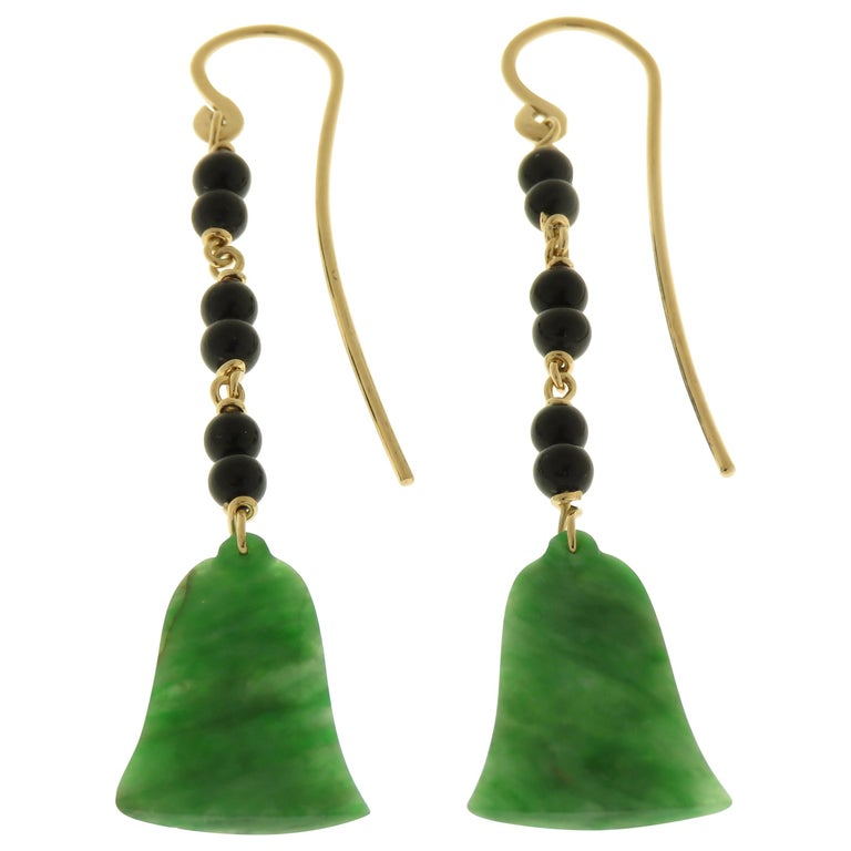 Jade Onyx 9 Karat Rose Gold Dangle Earrings Handcrafted in Italy For Sale