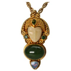 Jade, Opal, Emerald Yellow Gold Exotic Princess Brooch Pendant Necklace