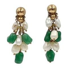 Jade Pearl 14 Karat Gold Dangle Drop Earrings Retro