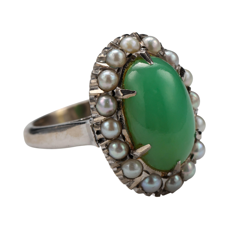 Jade & Pearl Ring Certified Untreated