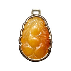 Jade Pendant Carved Peaches Certified Untreated