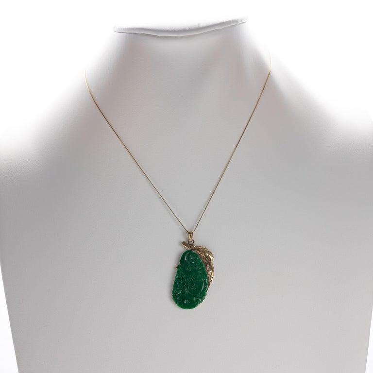 Women's or Men's Jade Pendant Certified Untreated Intense Green Chromium Jadeite For Sale