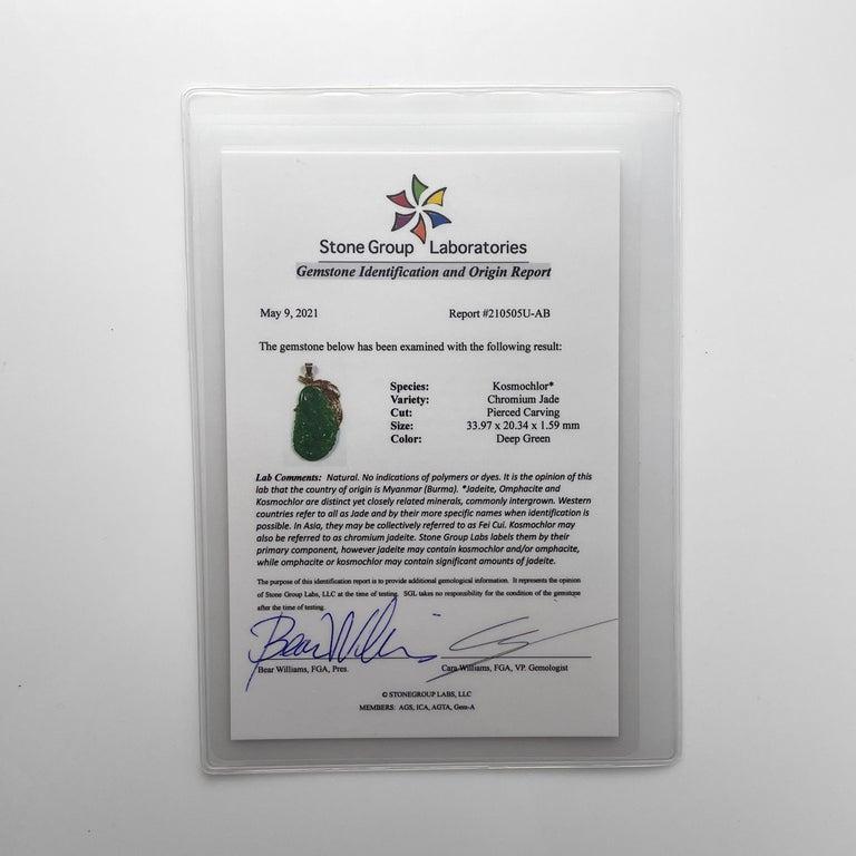 Jade Pendant Certified Untreated Intense Green Chromium Jadeite For Sale 1