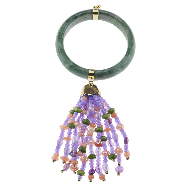 Jade Pendant Opal Lavender Jade 18 Karat Gold Pendant