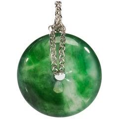 Jade Pi Disk Pendant in Glassy Emerald Green Certified Untreated