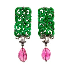 Jade Pink Tourmalines Diamond Earrings