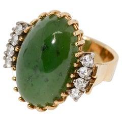Jade Ring, 18 Karat Gold with Diamonds